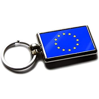 Flag of The European Union EU National Colours Quality Chrome Keyring Picture Both Sides