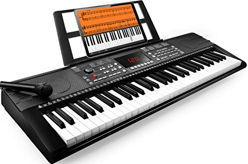 61-Key Portable Digital Electronic Keyboard Piano with 300 Rhythm, 500 Tone, App Teaching System,MIDI/USB Interface, Microphone, Music Stand,Power Supply, Bluetooth Function,Record, Play