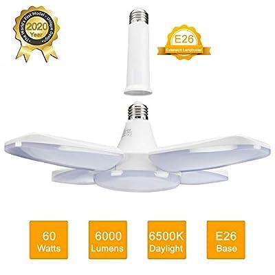 LED Garage Light 60W E26 6000LM Deformable LED Garage Ceiling Lights 6500K Daylight White with 4 Adjustable Panels, Deformable LED Shop Lights for Garage Warehouse Workshop Basement