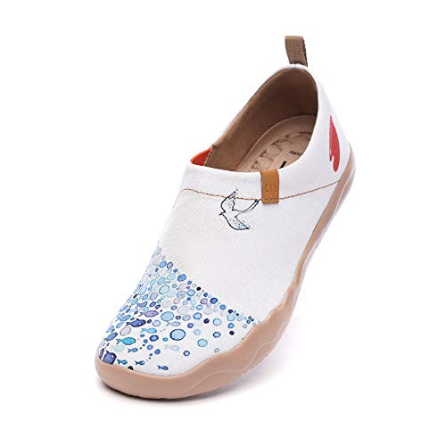 UIN Pacific Time Zapatillas de Deporte cómodas para Mujer para Viajes de Pescado Zapatos para Caminar Pintados de Moda Zapatos sin Cordones de Lona Azul