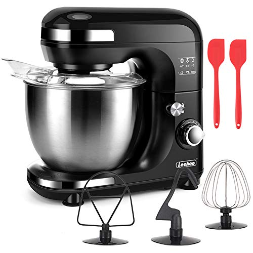 Stand Mixer Kitchen Mixer , 7-Speed 5.5QT Tilt-Head Food Electric Mixer with Dough Hook&Wire Whip&Beater&Stainless Steel Bowl for Most Home Cooks(Black)