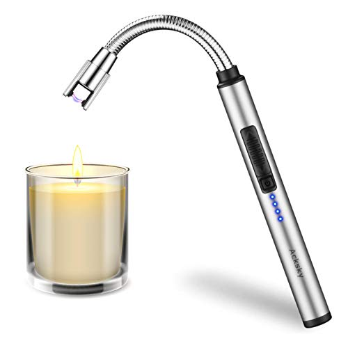 Candle Lighter, ACKSKY Electric Arc Rechargeable USB Lighter with LED Battery Display Triple Safety Switch, Windproof Flameless Plasma Lighter with Long 360° Flexible Neck for Grill (Silver)