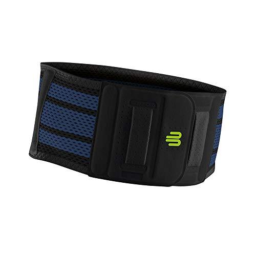 Bauerfeind Unisex Rücken-Sportbandage, für Ball- und Rückschlagsportarten, Leichtathletik, Schutz vor Überlastungen, Silikonpad, Gr. M, schwarz, 1 Stück