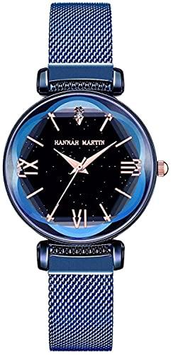 QHG Reloj de Mujer de Japón Cuarzo Malla de Acero Inoxidable Malla Magnética Hebilla Magnética Relojes Impermeables para Mujer (Azul Negro)