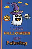 I Love Halloween and Painting: Blue Color Novelty Gifts - Blank Lined Notebook to Write In for...