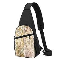 ワンショルダーバッグ メンズ 斜めがけ胸バッグ ボディー肩掛けバッグ 小型手提げバッグ 出張 通勤 通学用 アルフォンス・ミュシャの四つの花