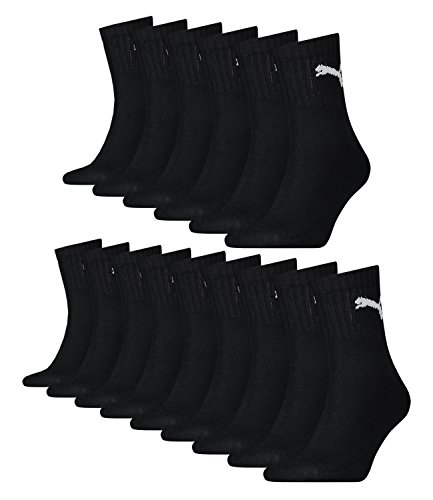 PUMA Unisex Short Crew Socken Sportsocken mit Frotteesohle 15er Pack black 200 - 43/46