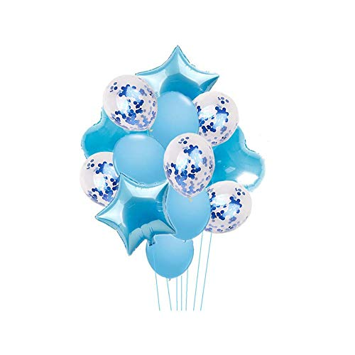 Nicetruc Globos 14pcs del Partido de la celebración del Partido Disfraces de 18 Pulgadas de la Estrella y los Globos del corazón 12 Pulgadas Globo de látex Confeti Globo Azul
