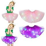2pcs Set Danza Magic Light Principessa LED Skirt Luminoso Gonna Fluffy Mesh Gonne Pannello Esterno del Partito della Fase di Natale in Tulle Balletto della Ragazza dei Bambini (Color 2)