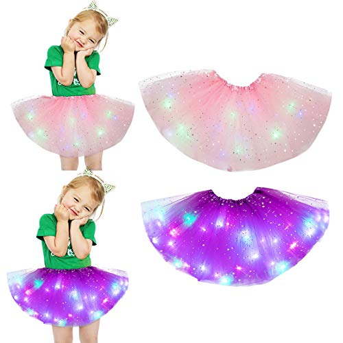 2pcs Set Danza Magic Light Principessa LED Skirt Luminoso Gonna Fluffy Mesh Gonne Pannello...