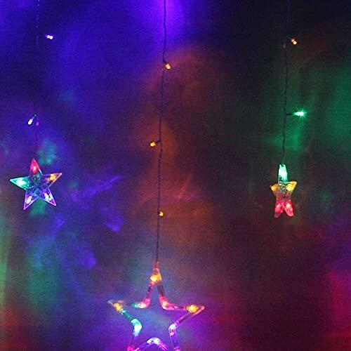 nanxing Star - Cortina de luces para interiores, 6 estrellas pequeñas y 6 estrellas grandes. 8 modos de luz, festival