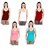 GMR Women's Cotton Camisole Bra Slip (Multicolour, Large, 90 cm) - Combo Pack of 5