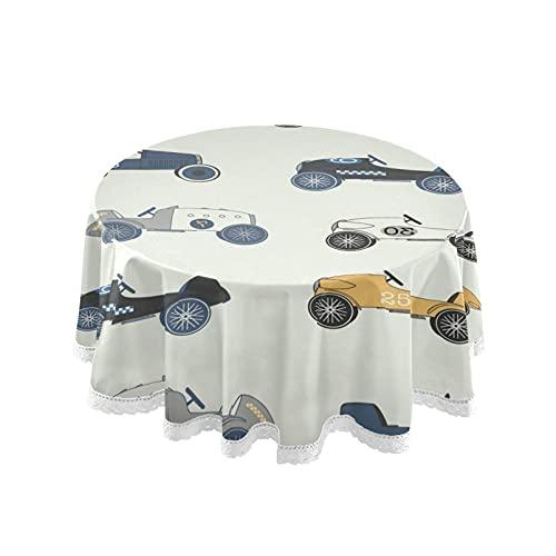 Accesorios para la sala de estar Mantel redondo Vintage Race Car Table Cloth Circular 152cm Cubierta de mesa para cocina Comedor Jardín Café Fiesta Boda Interior Exterior Decoración de mesa