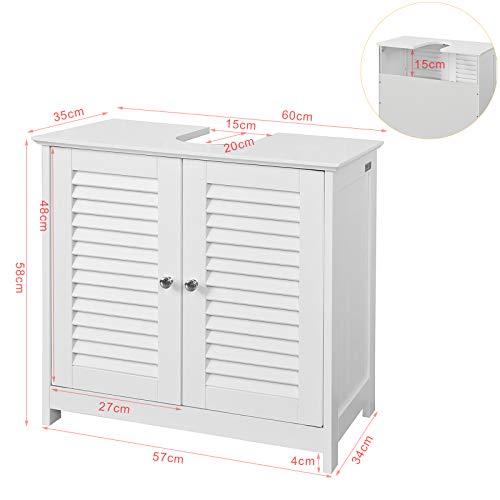 SoBuy® FRG237-W Waschbeckenunterschrank Badschrank Unterschrank in weiß BHT ca: 60x58x34cm 4