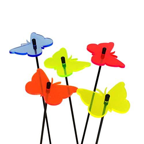 SunCatcher: SONNENFÄNGER 5er Set 'Schmetterling' | fluoreszierende Gartendeko | 6cm ø¸ mit 25cm Stab | Gartenstecker Geschenk, Farbe:alle Farben (5)