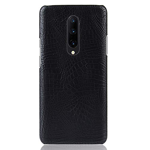 Para OnePlus 7 Pro capa de couro sintético com estampa de crocodilo (Preto)