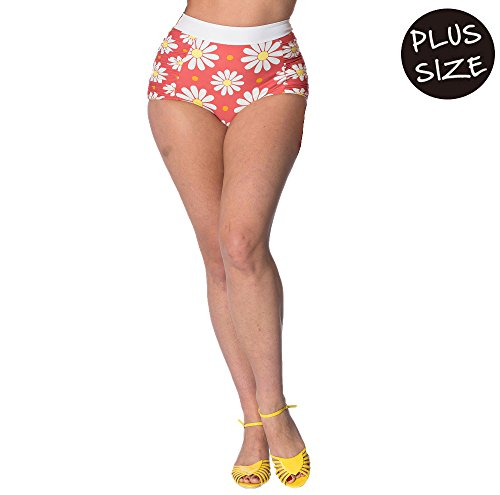 Banned Crazy Daisy Built Up Vintage Retro Plus Size Swim Bottoms - Green/UK-18