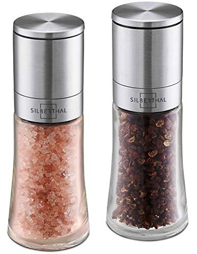 SILBERTHAL Gewürzmühlen Set - Glas und Edelstahl - Salz und Pfeffer Mühle mit einstellbarem Keramikmahlwerk - Unbefüllt und Nachfüllbar