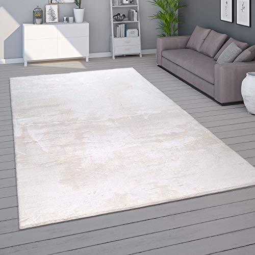 Paco Home Teppich Wohnzimmer Kurzflor Waschbar Weich Modernes Einfarbiges Muster, Grösse:160x220 cm, Farbe:Creme