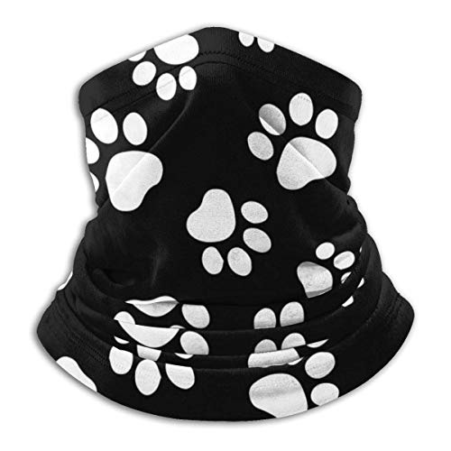 Lawenp riutilizzabile Paw Print White Black Neck Warmer - Scarf Neck Gaiter Tube For Men And Women Ear Warmer Headband Face Bandana Neck & Beanie For Cold Weather Winter Outdoor Sports