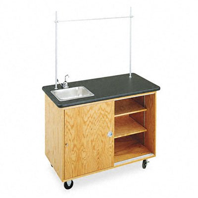 Diversified Woodcrafts 4111K UV Finish Solid Oak Wood Economy Mobile Lab Table, Plastic Laminate Top, 48