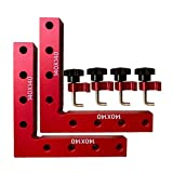 90 Degree Positioning Squares Right Angle Clamps Aluminum Alloy Woodworking Carpenter Tool for Picture Frame Box Cabinets Drawers 2 Squares(14cm/5.5')+ 4 Clamps