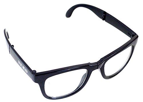 Nerd-bril zonder sterkte Geek-bril met etui inklapbaar klein gecomprimeerd stabiel Party-bril Wayfarer stijl