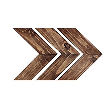 Kane & Co Rustic Wood Chevron Arrow Home Decor | Modern Country Farmhouse Accents | Set of 3 (Dark Walnut)