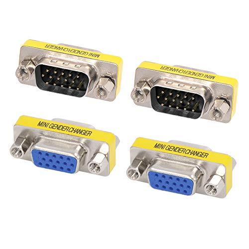 VCE 4 Stück VGA Adapter D SUB Gender Changer VGA Stecker auf VGA Stecker Adapter und VGA Buchse auf VGA Buchse Kupplung 15 Polig