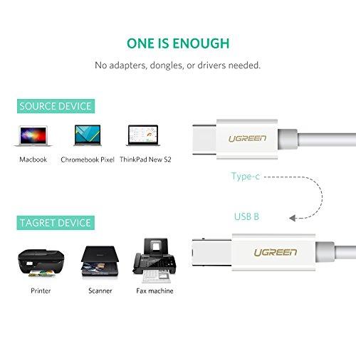 UGREEN Cable Impresora, Cable USB Tipo C a Tipo B 2.0 (Thunderbolt 3 Compatible) para Macbook Pro 2019 2018 2017, Macbook 2017 2016 2015, iPad Pro 2018, DELL XPS 15, Xiaomi Air 13, 1 Metro, Blanco