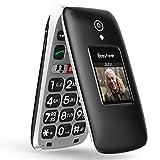 Easyfone Prime-A1 Pro GSM Seniorenhandy Klapphandy ohne Vertrag, Großtasten Seniorentelefon mit SOS-Notruftaste mit GPS   Hörgeräte kompatibel(HAC)   Taschenlampe & Ladestation (Schwarz)