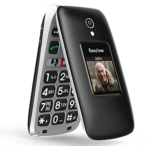 Easyfone Prime-A1 Pro GSM Telefono Cellulare per Anziani a Conchiglia, Display HD IPS 2,4 pollici, tasto SOS mit GPS, Batteria di grande 1500mAh con base di ricarica (Nero)