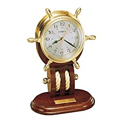 Howard Miller Britannia Table Clock 613-467 – Weather & Maritime Solid Brass Ship's Wheel Decor with Mahogany Base, Quartz Movement