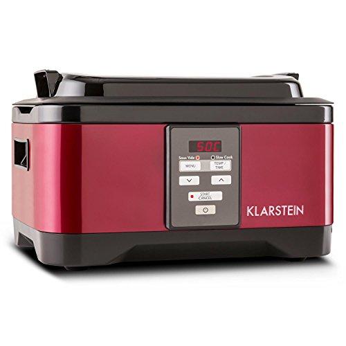 Klarstein Tastemaker - Sous-Vide Garer, Schongarer, Vakuumgarer, Niedrig-Temperatur-Garer, 6 Liter, 550 W, Temperaturbereich 40-90 °C, Garzeit einstellbar: 1-24 h, Edelstahl, Deckel, rot