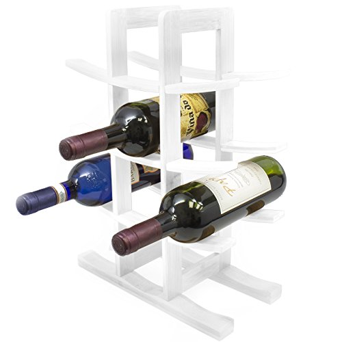 Sorbus Bamboo Wine Rack – Holds 12 Bottles of Your Favorite Wine – Sleek and Chic Looking Wine Rack (White)