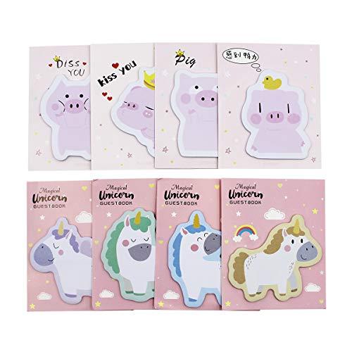 Knuffelig veelkleurig schattig cartoon varken eenhoorn bedrukte Sticky notities zelf-stick Memo Pad Sets geschenk voor kinderen meisjes, Pack van 8