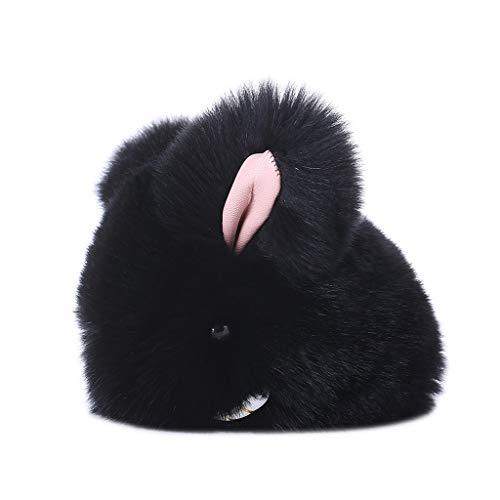 DWQuee Lindo llavero, diseño de conejo de piel sintética con borla, bolso de mano, llavero de coche, joyería negra
