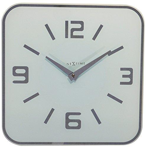 """NeXtime große Wanduhr \""""SHOKO\"""", lautlos, quadratisch, Spiegelglas, Weiß, 43 x 43 cm"""