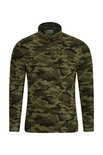 Mountain Warehouse Herren-Camber-Fleece - Ultraleicht, atmungsaktiv, wasserdichte Jacke, schnell trocknend, Antipilling-Sweatshirt, extra Belüftung - zum Wandern, Winter Camouflage XXL
