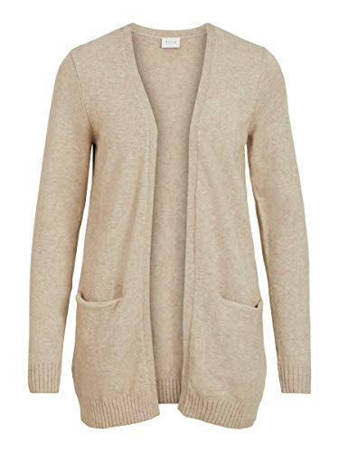 Vila Clothes Viril L/s Open Knit Cardigan-Noos Chaqueta Punto, Beige (Natural Melange Natural Melange), 36 (Talla del Fabricante: Small) para Mujer