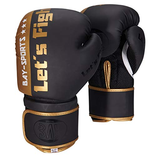 BAY Fresh mesh Boxhandschuhe schwarz Gold 8 Unzen, Box-Handschuhe, Carbon Look, UZ OZ, PU-Leder, Profi Delux, Kickboxen, Boxen, Thaiboxen, Muay Thai, Herren Damen Kinder Jugendliche Junioren Mädchen
