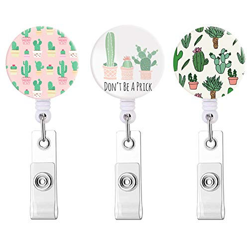 Badge Reel,Retractable ID Card Badge Holder with Alligator Clip,Decorative Name Badge Holder,24 inch Nylon Cord (Cactus / 3 Pack)