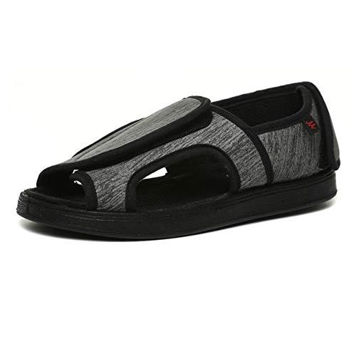 SZFGYJ Zapatillas Diabéticas Para Mujer, Zapatos De Edema Transpirable Unisex, Zapatos De Caminar Hinchados Ajustables, Antideslizantes, Sandalias Ortopédicas Adicionales, Ancianos,Gris,38