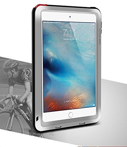 LOVE MEI Waterdichte Case voor Apple iPad Mini 4, Merk Aluminium Materiaal met Gehard Glas Scherm Cover *Twee Jaar Garantie* ZILVER