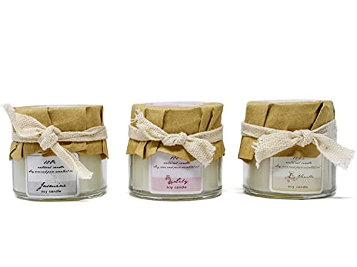Selldorado Set de regalo de 3 velas perfumadas Jazmín, Vainilla, Lirio - Velas de cera de soja 100% para aromaterapia - Velas aromáticas en vidrio (Conjunto 1)