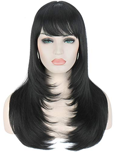 Kalyss 24' Black Synthetic Hair Wigs With Hair Bangs Middle Parting Long Straight Layered Natural Looking and Super Soft Heat Resistant None Lace Wigs