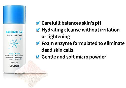 Enzyme Powder Wash, Scrub And Face Wash , Enzyme Cleaner Peeling, Peels For Face, Korean Exfoliator, Brightens Dermatologist Tested, (1.76 O.z) Radicalclear By DR. ORACLE