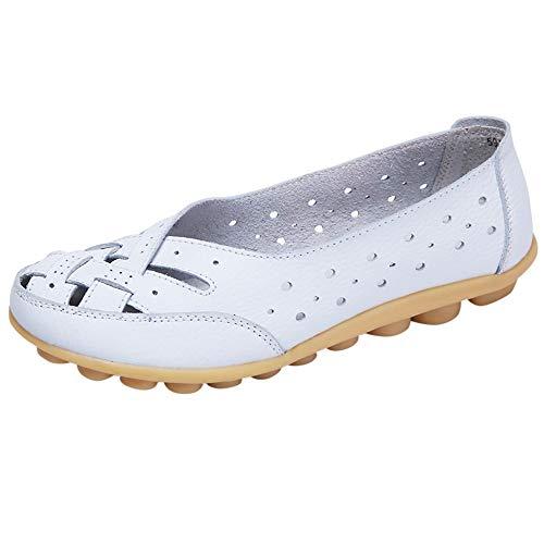 Alaso Mocassins Femmes en Cuir Casuel Confort Chaussures Plates Loafers Chaussures de Conduite été Sandales Ballerines Grande Taille 35-44
