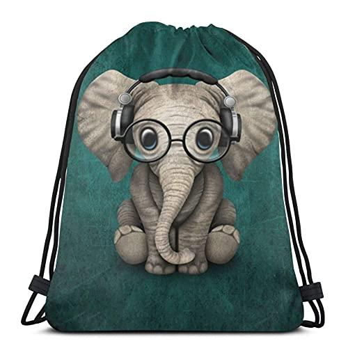Lmtt Mochila con cordón de tiburón de dibujos animados azul marino, mochila deportiva, bolsa de gimnasio, saco de cincha de poliéster, natación, viaje, elefante, gafas para bebé