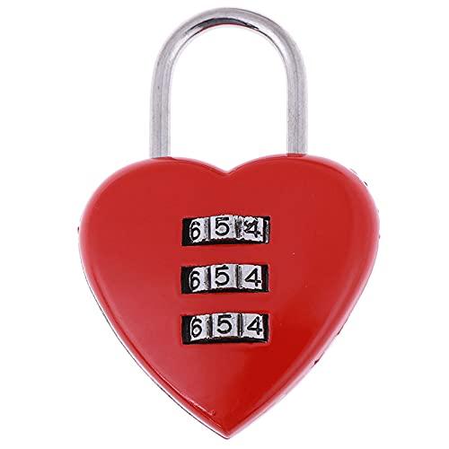 Candado de combinación de 2 piezas de cerradura de equipaje mini forma de corazón lindo 3 dígitos equipaje maleta candado rojo corazón en forma de cerradura codificada